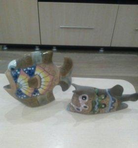 Рыбки,майолика ,керамика.