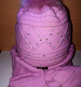 Комплект шапка и шарф теплый