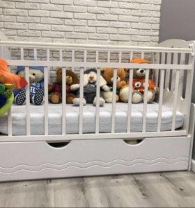 """Детская кроватка """"укачай-ка"""" от daka baby белая"""