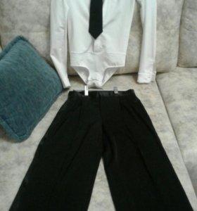Рубашка боди и брюки, галстук для спортивных танце