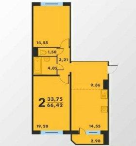 Квартира, 2 комнаты, 66.3 м²