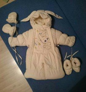 Зимний  комбинезон конверт для новорожденного