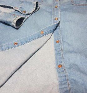 Рубашка женская. Тонкая джинса.