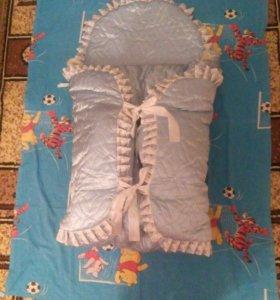 Конверт + одеялко на выписку, зима