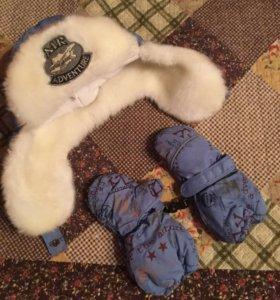 Варежки и шапка -новые , на 1-2 года