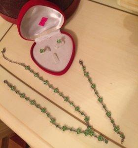 Комплект бижутерия серьги цепочка и браслет