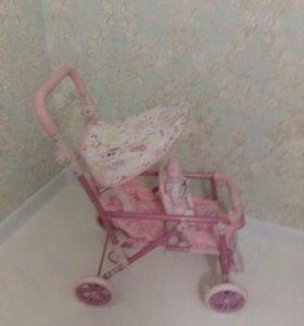 коляски, стульчик, колыбелька, пупсы игрушечные