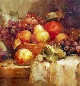 Картина маслом на холсте (натюрморт с фруктами)