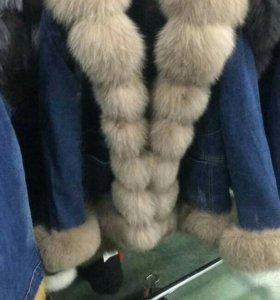 Джинсовые куртки с мехом ,песец!