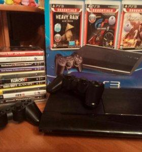 PS3 Super Slim 500gb + 2 геймпада + 14 игр + hdmi