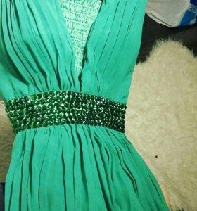 Роскошное изумрудное вечернее/выпускное платье
