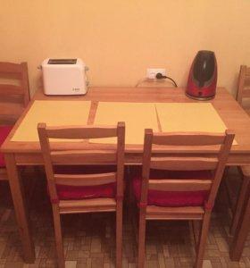 Стол + стулья+подушки на стулья