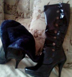Сапоги зима лакированные кожаные