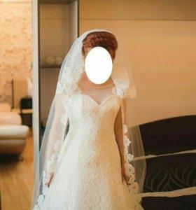 Свадебное кружевное платье 42-44р