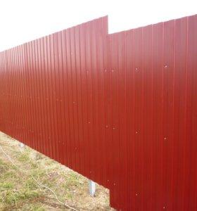 Забор из профлиста С8 0,5 мм 2 лаги RAL 3015