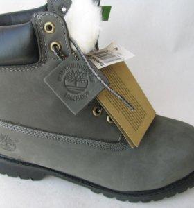 Ботинки Зимние Timberland Мех Нубук Серые 43