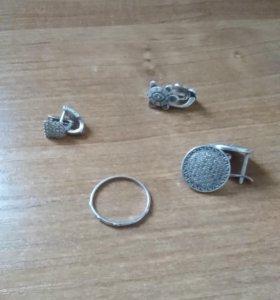 Серьги/кольцо/кулон серебро925