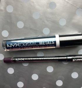 Металлическая помада и карандаш для глаз Nyx