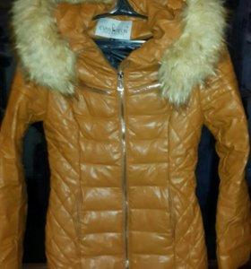 Зимняя женская кожаная куртка