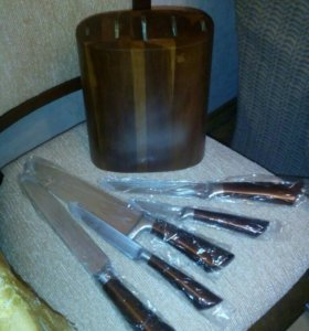 Ножи+деревянная подставка в наборе