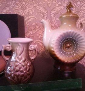 Набор заварочный чайник и ваза СССР