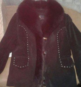 Замшевая куртка с мехом на воротнике и рукавах
