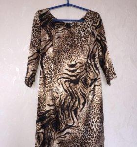 Платье женское шелк леопардовое