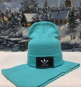 Adidas шапка и облегающий шарф-хомут