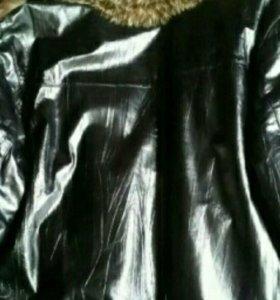 Кожаная куртка с волчьим мехом