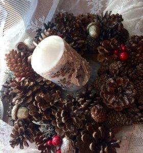 Рождественские веночки подсвечники подарки