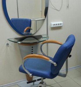 Кресло парикмахерское + зеркало с подставкой