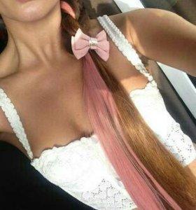 Натуральные волосы розовые