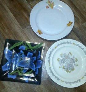 2 большие тарелки(блюда)и набор посуды на 6 персон