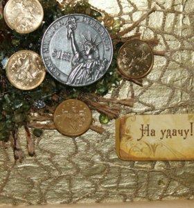 Денежные сувениры.Картина денежное дерево на удачу