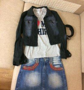 Укороченная джинсовая куртка H&M