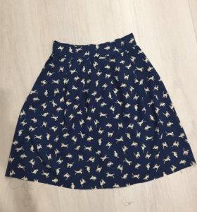 Темно-синяя юбка с кошками, летняя. (новая)