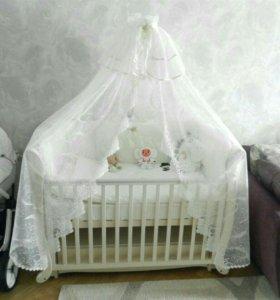 Набор в кроватку с балдахином little star Каролина