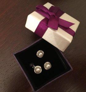 новый набор сережки и кулон серебро 925