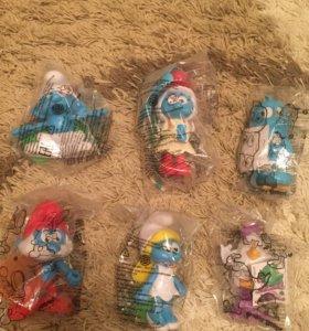 Новые игрушки 4 смурфа и 2 птицы angry birds