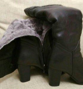 Сапоги кожаные, нат. мех зимние