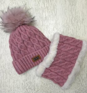 Комплект: тёплая шапка + снуд, новый