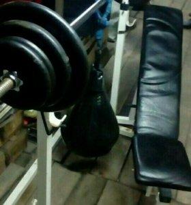 Штанга,гриф,блины,скамья+боксёрская груша на 12кг