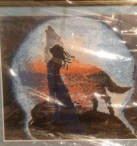 Алмазная вышивка,картина Волки.