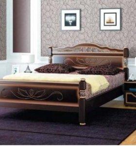 Кровать из Массива 1.2 Темный Орех + доставка