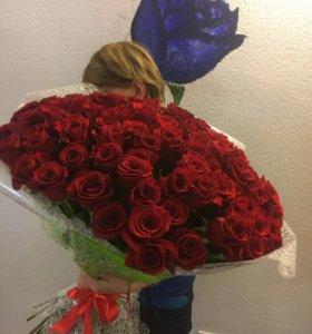 Роза Красная Эквадор , 70 см