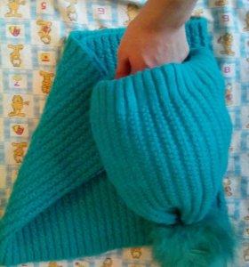 Шапка зимняя с шарфом