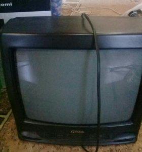ТелевизорБу.работает но тёмная полоса без пульта
