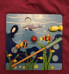 Деревянная игра рыбалка на магните