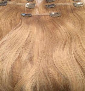 Волосы натуральные на заколках Блонд 45 см