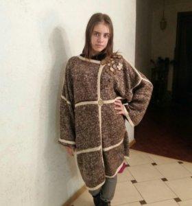 Пальто вязаное демисезонное шоколод